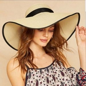 Accessories - Big Bow Decor Contrast Trim Floppy Hat